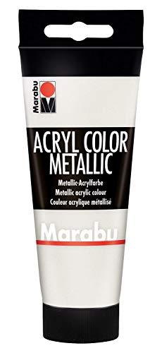 Marabu 12010050770 - Acryl Color metallic weiß 100 ml, cremige Acrylfarbe auf Wasserbasis, schnell trocknend, lichtecht, wasserfest, zum Auftragen mit Pinsel und Schwamm auf Leinwand, Papier und Holz