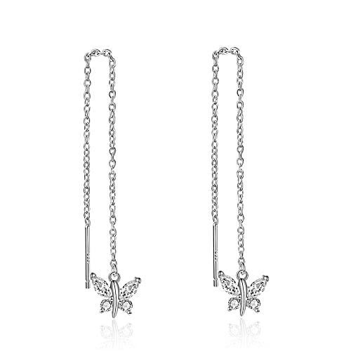 Pendientes de mariposa para mujer de plata de ley 925 con cristales blancos y lágrimas largas. Pendientes para mujeres y niñas., Plata de ley,