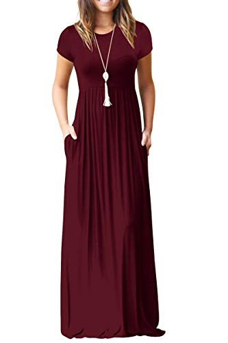 GRECERELLE Women's Short Sleeve Loose Plain Maxi Dresses Casual Long Dresses with Pockets Wine Red XL