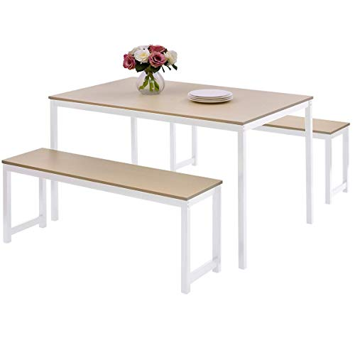 Dinning Room Set with Bench,JULYFOX 3 Pieces Dining Table and 2 Bench Chairs Set for 4 People-Metal and Wood Kitchen Table Set for Small Spaces Beige