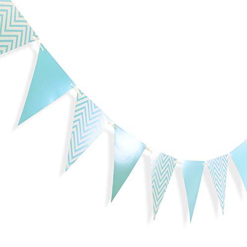 jingyuu Décoration Thème Bleu pour Fête Mariage Anniversaire Bannière Bleu en Papier Guirlande de Fanions Drapeau Triangle Banderole