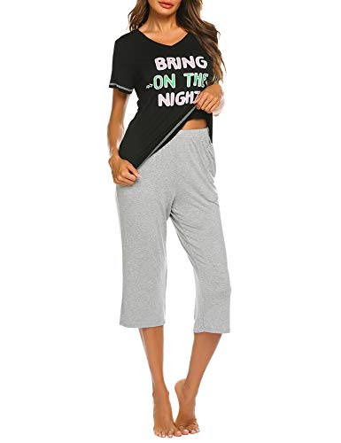UNibelle Mujer Pijama De Dos Piezas Pijamas De Primavera Mujeres Cuello En V Ropa De Dormir 2 Piezas De Manga Corta Pantalones Largos Seda S-XXL