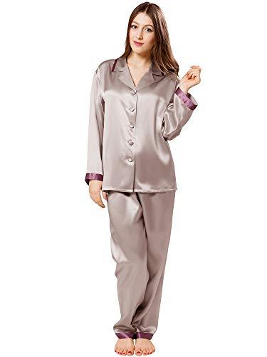 ElleSilk Luxuriös Seiden-Pyjamas Lang, Damen Schlafanzug Langärmlig, 22 Momme, Platin/Rosinfarbe, L
