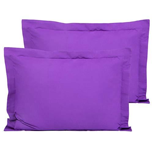 FLXXIE 2 Pack Microfiber Standard Pillow Shams, Ultra Soft and Premium Quality, 20' x 26' (Purple, Standard)
