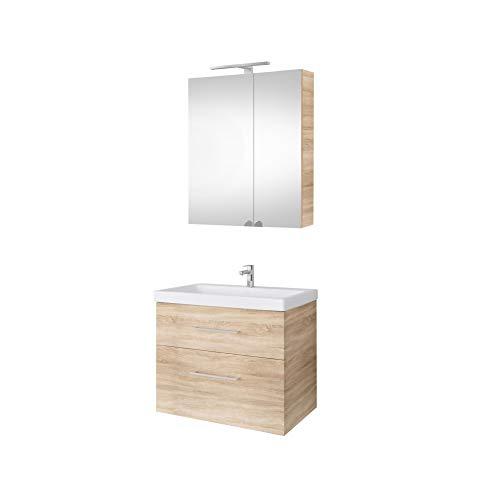 Planetmöbel tvättställsskåp med spegel 64 cm badrumsmöbler set för badrum gäster WC Waschtischunterschrank + Spiegelschrank Sonoma Eiche