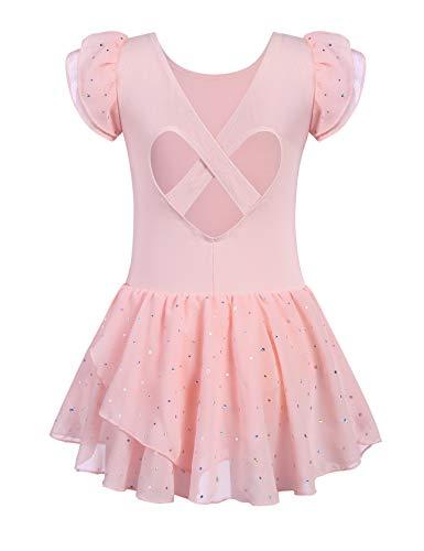 Kinder Ballettkleidung Ballettkleid Mädchen Kurzarm Baumwolle Balletttrikot Ballettanzug Tanzkleid Tanzbody mit Rock Tütü, Rosa, 120