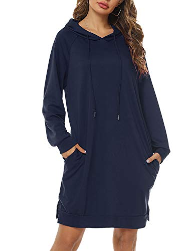 Sykooria Sudadera Larga con Capucha para Mujer Vestido Deportiva de Algodón con Bolsillos Jersey de Casual de Otoño Invierno de Color Sólido