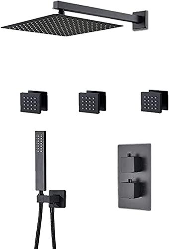 QUERT Sistema termostático de Ducha de Lluvia Juego Combinado de Ducha Negra Juego de Grifo de Ducha de baño montado en la Pared con Cabezal de Ducha, ABS
