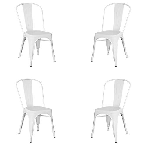 Adec - Tolix, Pack de 4 Sillas, Silla Comedor, Cocina o Salon, Contract, Color Blanco Mate, Medidas: