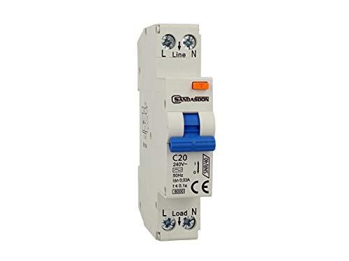 SANDASDON SD-SNR/40-C20 Interruttore Differenziale Salvavita 1P+N 40A C20 1M 1 Modulo DIN