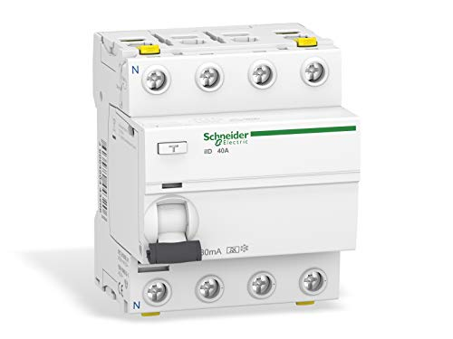 Schneider Electric A9Z21440 Acti 9 iID RCCB, Type A, 4P, 40A, 30mA, 73mm x 72mm x 91mm, Blanco