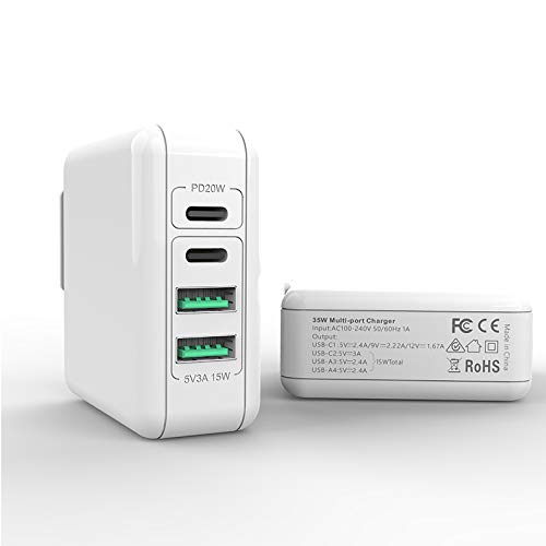 USB-C Wall Charger Multiport, 4 Ports PD 35W Charger Type-c Charging for iPhone 12 Mini Pro Max Samsung Xiaomi Huawei 35W Tablet Quick Charging