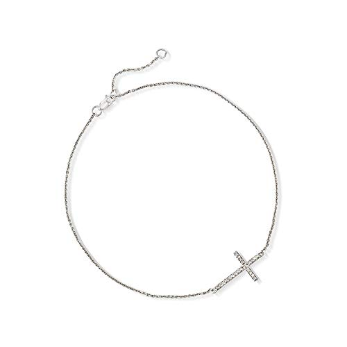 Ross-Simons 14kt White Gold Sideways Cross Anklet With Diamond Accents
