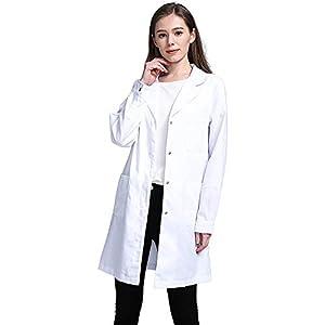 Icertag Bata de Laboratorio, médico Abrigo Abrigo de Mujer, Abrigo Blanco para Damas, Adecuado para Estudiantes de la Escuela Laboratorio de Ciencia Enfermera Cosplay Vestido de algodón (Small)