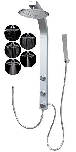 dirks-traumbad Komplettdusche Duschsäule Regendusche mit 5 Funktionen Massagedüsen Silber Wandmontage und Eckmontage