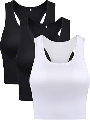 Boao 3 Pieces Women's Sports Crop Top Cotton Basic Sleeveless Racerback Crop Girl's Tank Top for Everyday Wearing (Black and White, Small)