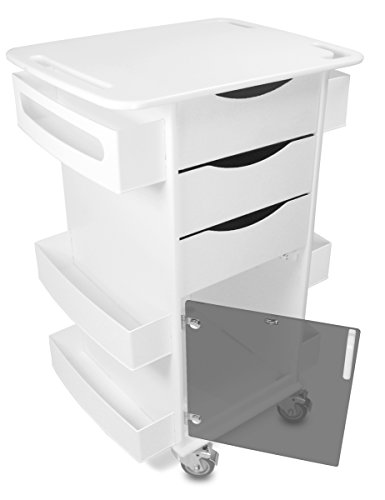 TrippNT 51417 Core DX Medical Cart, Smoke Acrylic Hinged Door, White, Polyethylene/ABS, 23 X 35 X 19 3/8 inches WHD, White/Black