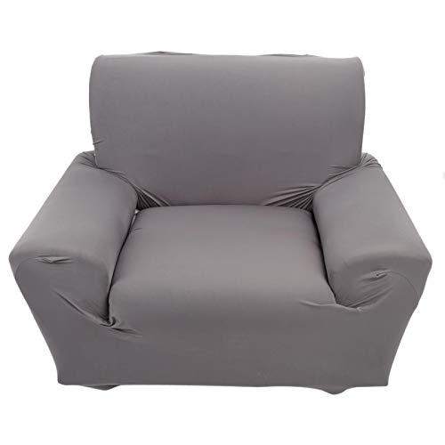 Funda para sofá, 1 plaza Funda para sofá de color sólido Funda para sofá Funda elástica antideslizante para sofá(Gris)