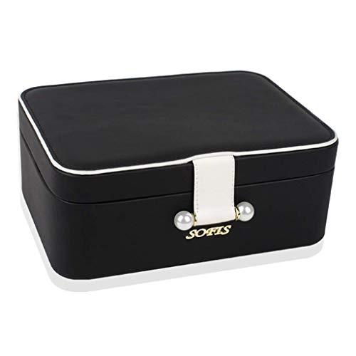 Joyería caja de las mujeres, mini caja de almacenaje, de doble capa grande Diseño Espacial, Long Flocado de tela Compartimento, utilizado for los pendientes de la broche de anillo del collar, Rosa / N