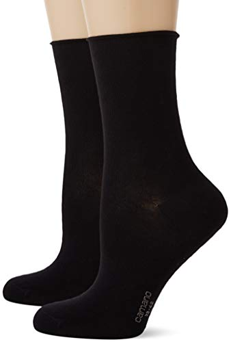 Camano Damen 2281 Socken, Schwarz (Black 0005), 39/42 (2er Pack)