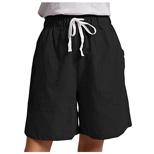 Pantalones cortos para mujer, estilo casual, cintura elástica, bolsillos de verano, pantalones de lino sólidos con bolsillos Negro XL