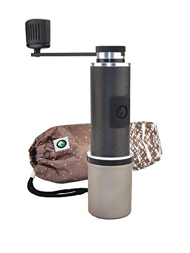 OE Fixie Carbon Fiber + Titanium Ultralight Manual Travel Coffee Grinder - great for camping, hiking, biking