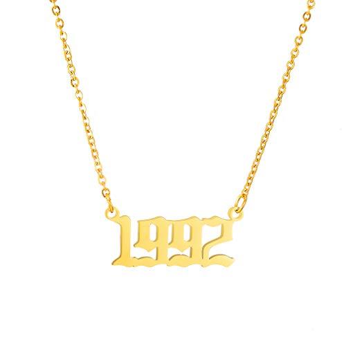 AFSTALR Damen-Halskette mit Geburtsjahr, Geburtstagsgeschenke, Anhänger, Freundschaftsschmuck für Mädchen 1992 Gold
