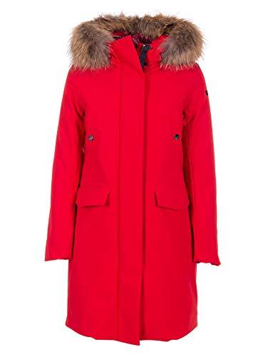 Rrd Parka Winter Lady Fur, Medio Lungo, Cappuccio con Vera Pelliccia, Rosso (44)