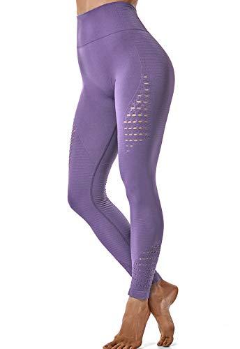 FITTOO Leggings Sin Costuras Corte de Malla Mujer Pantalon Deportivo Alta Cintura Yoga Elásticos Fitness Seamless #1 Morado Claro Small