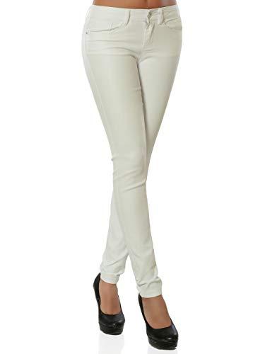 Daleus Damen High-Waist Kunstlederhose Skinny DA 15972 Farbe Weiß Größe XS (Herstellergröße 34)