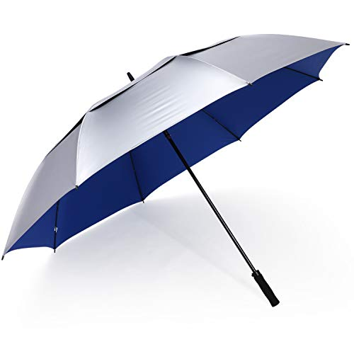 G4Free 72 Inch Huge Golf Umbrella UV Protection Auto Open Windproof Umbrella Oversized Extra Large Vented Double Canopy Umbrella for Family (Silver/Blue)
