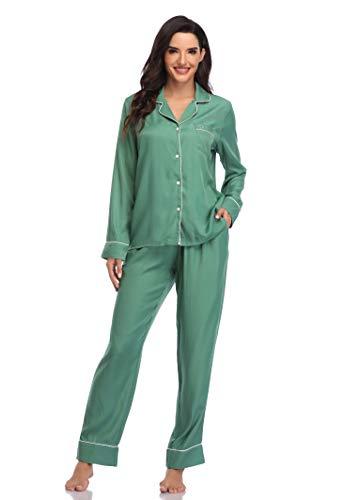 SHEKINI Schlafanzug damen,Knöpfen Pyjama mit Hose mit Gummibund Nachthemd Nachtwäsche Sleepwear 2 Teiliges Klassisch Pyjama Set Zweiteiliger Schlafanzug lang(Graugrün,S)