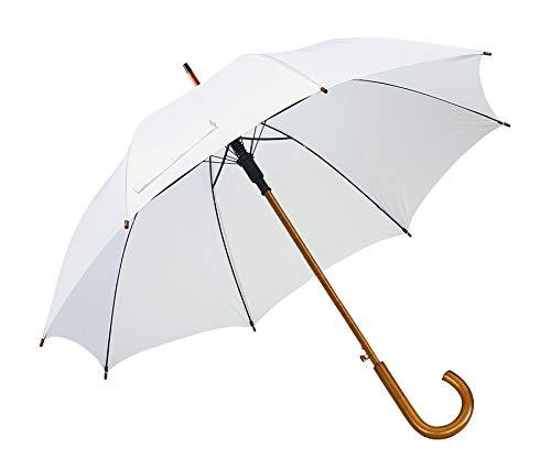 Automatik Regenschirm Holzschirm Stockschirm Portierschirm mit gebogenem Rundhaken Holzgriff in 103 cm Durchmesser von notrash2003 (Weiß)