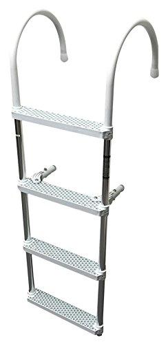 Pactrade Marine 4 Steps Ladder Hook, Aluminum Polyethene, White
