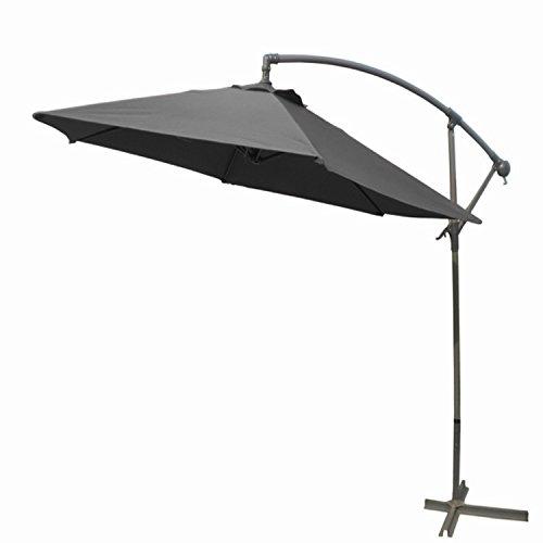 Mojawo zonnescherm Ø 3m slinger parasol zonwering met zwengel en LED-zonneverlichting in steengrijs tuinscherm