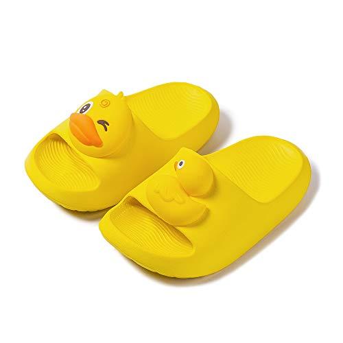 Nasogetch Kinder Badeschuhe Duschschuhe Mädchen Jungen EVA Badelatschen Pantoffeln Schlappen Hausschuhe mit Dinosaurier Weich Rutschfest Gelb 170