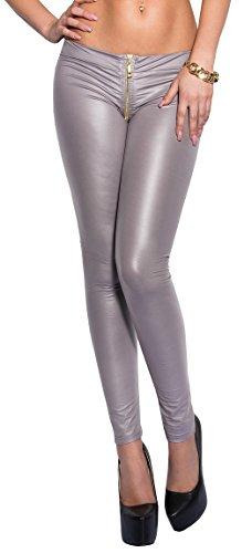 Firstclass Trendstore Leggings mit Reißverschluß (Zipper) im Wetlook, Leggins Damen Gogo Clubwear Party (900649 grau S/M)