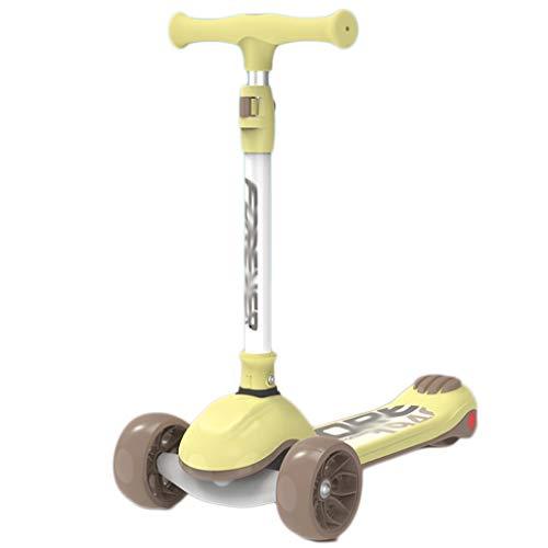Scooters para Niños Cultivar el equilibrio 3 ruedas patear scooter para niños pequeños scooter con LED PU Llantas intermitentes, magro para dirigir, altura ajustable Antideslizante Scooter Patinete Ni