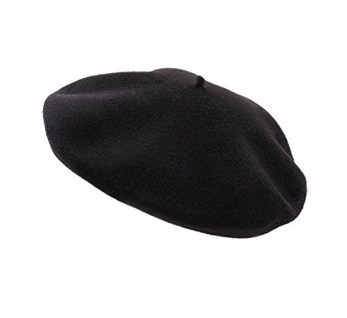 Laulhère Big Boys Paris 9 French Beret Basque, Traditional Noir