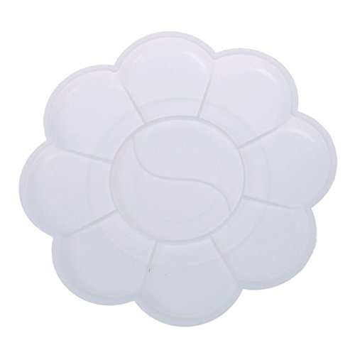 Notewisher 2 Pcs White Plastic Flower Shaped Watercolor Paint Plate Tray Mixing Palette