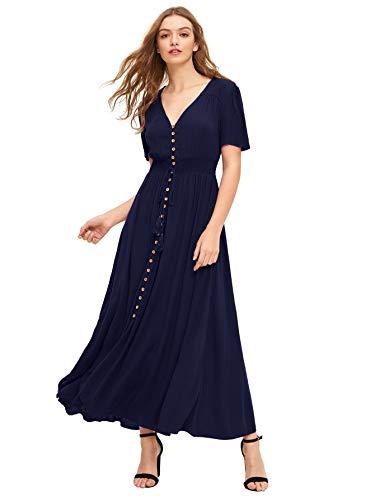 Milumia Women's Button Up Split Flowy Short Sleeve Plain A Line Party Maxi Dress Dark Blue Small