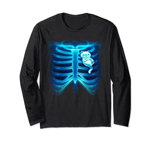Gatos en mi corazón Radiografía Huesos Esqueleto Gatito Gato Amante Manga Larga