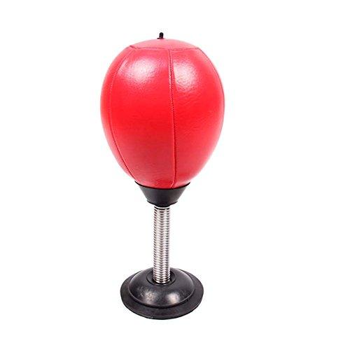 SueSupply 1xPunchingball Tisch Boxbirne Schreibtisch Büro Punching Ball Anti Frust Stress Reliever Tischgeschwindigkeit Stanzkugel mit Pumpe, 34 x 14.5X 12 cm, Rot
