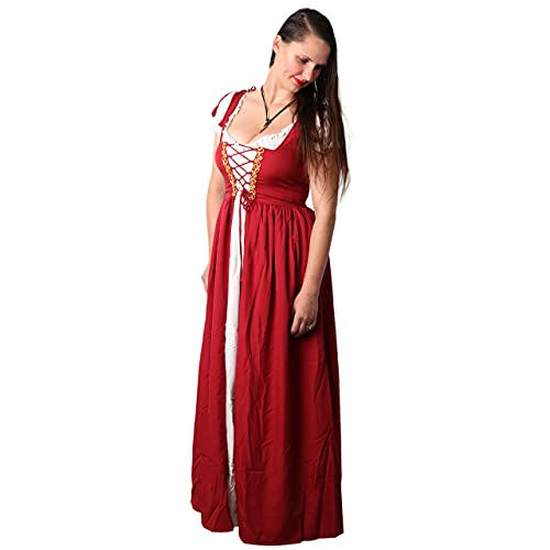 Mythrojan Women's Renaissance Cosplay Costume Medieval Reminisce Irish Costume Chemise and Over Dress – Maroon Color
