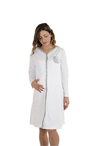 Premamy - Camisa Clinica para Maternidad, Modelo de Frente Abierto, algodón elástico de Dos vías, pre-Post-Parto - Gris - VII (XXL)