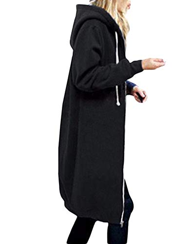 Femme Épaissir Sweats À Capuche Veste Zippé Manteau Blouson Hoodie Sweat-Shirt Longue Cardigan Noir 4XL