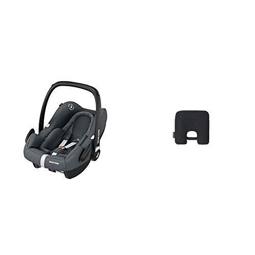 Maxi-Cosi Rock Babyschale, sicherer Gruppe 0+ i-Size Baby-Kindersitz (0-13 kg), nutzbar ab der Geburt bis ca. 12 Monate, passend für FamilyFix One Basisstation, essential graphite + Maxi-Cosi e-Safety