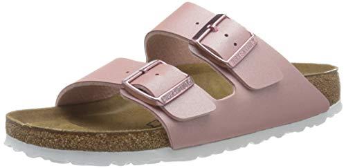 BIRKENSTOCK Womens Sandales Arizona Birko-Flor ICY Metallic Old Rose Slides, 41 EU
