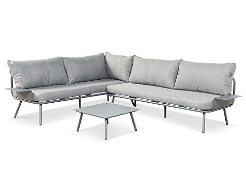 LANTERFANT Juego de salón Beau, grupo de asientos, sofá esquinero, marco de aluminio, recubrimiento de polvo, mesas auxiliares con reposabrazos, mesa de café, disponible en dos colores, gris
