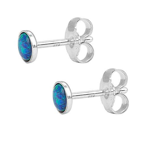 Charlotte Wooning Ohrstecker Damen Silber Star Light Kleine Runde Ohrringe mit Opal 925 Silber - ESLs